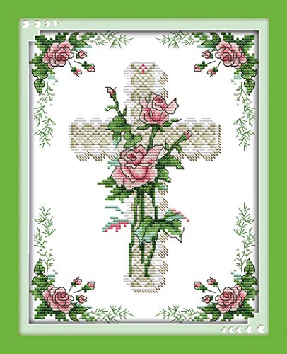 (Cross Stitch Stamped Kits Pre-Printed Cross-Stitching Starter Patterns for Beginner Kids or Adults, Embroidery Needlepoint Kits The Heart of a Rose for Bedroom, Living Room Wall Decorations)