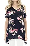 Smallshow Women's Nursing Tops Summer Cold Shoulder Breastfeeding Shirt Medium SVP043