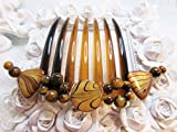 Tiger Eye Beads & Mother of Pearl Large french twist Comb, semi precious comb, large hair comb, French hair comb, Tigers eye and shell comb
