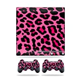 MightySkins Protective Vinyl Skin Decal Cover for Sony Playstation 3 PS3 Slim skins + 2 Controller skins Sticker Pink Leopard