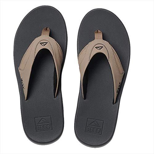 (Reef Mens Fanning Tan Black Tan Sporty Toe Post Flip Flops Size 8)