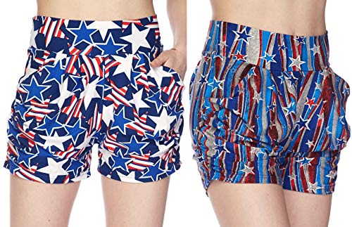 (Women's 2 Pack Premium Ultra Soft Harem Shorts in Fun Trendy Patterns (Patriotic Stars & Stripes, S/M (2-8)))
