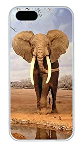 iPhone 5S Cases and Covers,African Elephants Custom Slim Hard Case Snap-on PC Plastic Case Cover Shell for Apple iPhone 5S/5 White