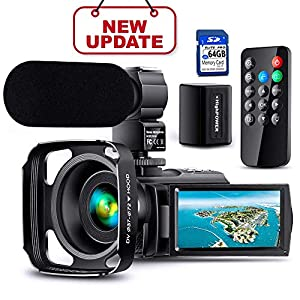 【Full Upgrade】Ultra HD Video Camera Camcorder with Rechargeable Microphone 1080P 42M Vlogging Camera YouTube Digital…