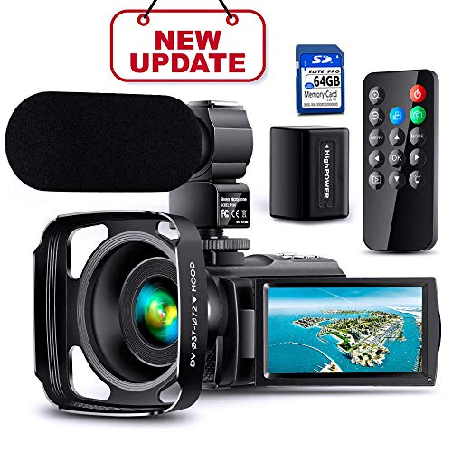Full UpgradeUltra HD Video Camera Camcorder with Rechargeable Microphone 1080P 42M Vlogging Camera YouTube Digital Camera IPS Touch Screen Remote Control IR Night Vision, Lens Hood, Battery Charger