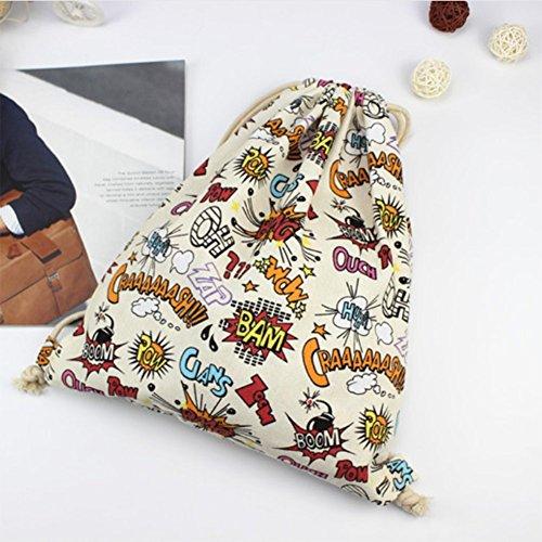LAMEIDA Bolso de Mujer con Cordón Lona Mochila Backpack Deporte Bolso de Viaje de Lienzo Diseño de geométrico mochila para Mujer Chica estilo-2