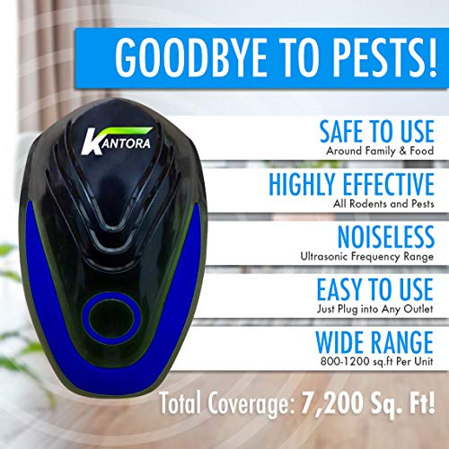 Kantora Ultrasonic Pest Repellent - 2018 Best Model Pest Repeller Plug to Control Rats, Insects, Mice, Spiders, Fleas, Roaches, Bed Bugs, Mosquitoes - Baby, Pet Safe & Non Toxic (Blue 4 Pack) Photo #7
