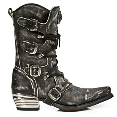 4ea3421842f NEWROCK New Rock 7993-C3 Black Leather Cowboy Biker Boots DISTRESSED ...