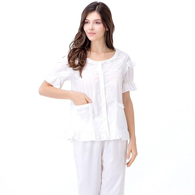 7ca30d072 HUWEQAZNMKF De la mujer de manga corta pijama pantalones algodón  confort/Paquetes de servicios a