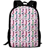 Socks And Hearts In Pink School Rucksack College Bookbag Unisex Travel Backpack Laptop Bag