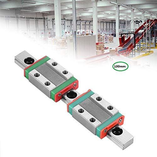 100mm Linear Sliding Guideway Rail ,Linear Slide Rail Guide and 2Pcs Rail Block,Bearing Steel Linear Rail Guide, for Precision Measuring Device,Automation Equipment