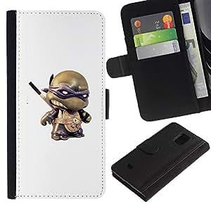 Billetera de Cuero Caso Titular de la tarjeta Carcasa Funda para Samsung Galaxy S5 Mini, SM-G800, NOT S5 REGULAR! / Figurine 3D Toy Hero Cartoon / STRONG