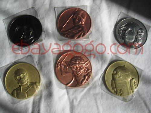 Star Wars Coin Set (Star Wars Collector Coins: Darth Vader, Yoda, Luke Skywalker, Leia, C3p0, R2d2)