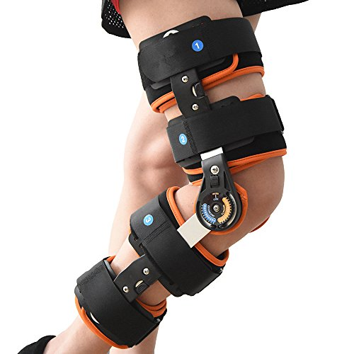 Hinged Knee Patella Brace Support Stabilizer Pad Belt Band Strap Orthosis Splint Wrap Compression Sleeve Immobilizer Guard Protector ROM(range of motion) Adjustable Medical Orthopedic Post-Op by TODDOBRA