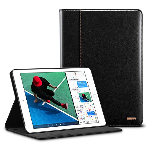 ESR iPad 9.7 2018/2017 Case with Apple Pencil Holder, Premium Leather Business Multi-Functional Folio Stand Cover Hand Strap Organizer Pocket Smart Auto Wake & Sleep Compatible for iPad 9.7,Black
