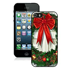 New Fashion Design Hard Protect Skin Case Cover Shell for Mobile Cell Phone Apple Iphone 5/ 5S-Merry Christmas,Christmas Wreath iPhone 5 5S Case 2 Black