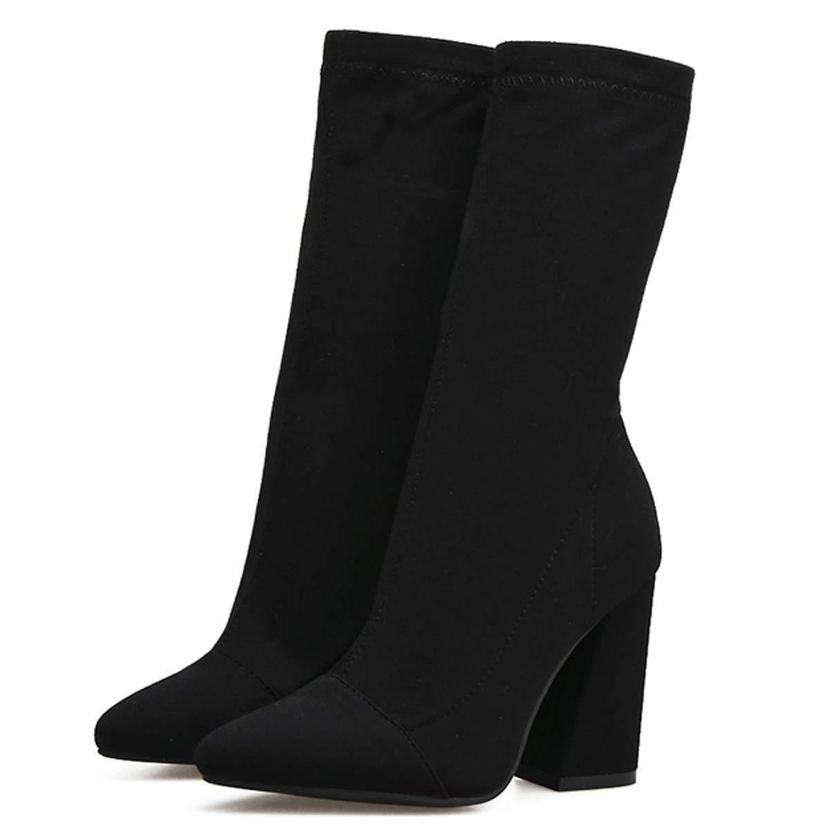 noir Thirty-nine HBDLH Chaussures pour Femmes des Bottes en Daim avec Un Tube en Moyenne 10 Cm Au Début du Printemps Les Jambes A Souligné épais Tissu élastique Talon Mahomme Dingxue.