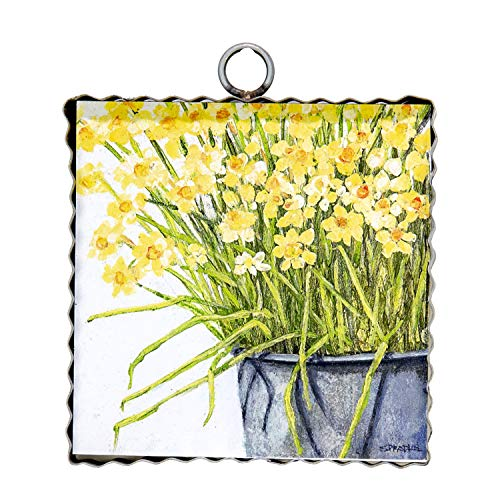 (The Round Top Collection - Gallery Bucket of Daffodils Wall Art - Metal & Wood )