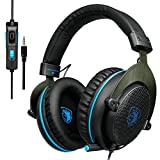 [2017 Newly Updated ] SADES R3 Stereo 3.5mm Gaming Headset with omnidirectional Microphone Reverberation Volume Control Noise Effect for PS4/Xbox One/PC/MAC/Laptop (Blue)
