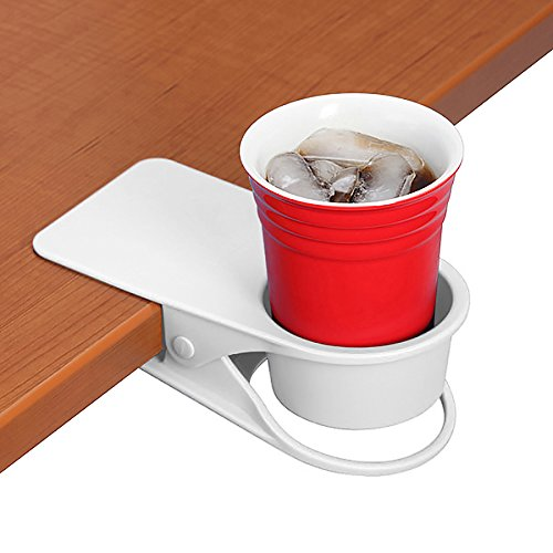 YOY Drinking Home Office Table Desk Side Huge Clip Water Drink Beverage Soda Coffee Mug Holder Cup Saucer Clip Design, White