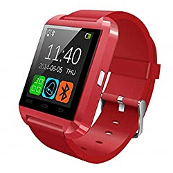 HopCentury Bluetooth Smart Watch for Android Cellphones - Barometer Altimeter Pedometer Functions - Answer Calls Take Photos Read Texts and More - Partial Functionality with iPhone Devices (Red)