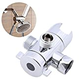 Geekercity Triangle Shower Diverter Valves, Handheld 3-Way Shower Arm Diverter Bathroom Sink Faucet Splitter for Handshower, Universal Replacement Components Adapter with Outlet, ABS Chrome
