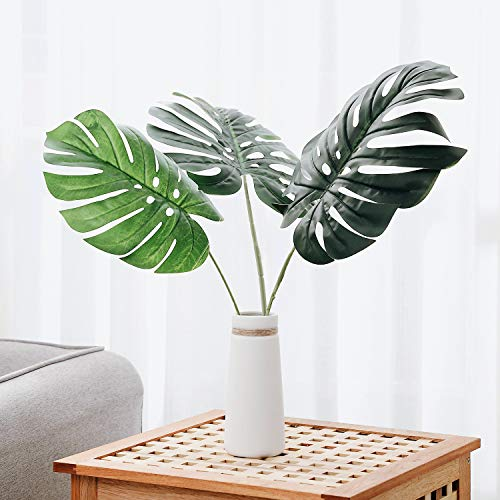 Wall Leaf Face - Olivachel Artificial Leaves Tropical Monstera Leaves Palm Tree Leaf Plant DIY Decorations for Home Kitchen Wedding Party (Monstera Leaves - 3pack)