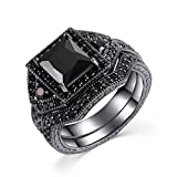 Castillna Black Sterling Silver Princess Cut Cubic Zirconia Wedding Engagement Bridal Rings Set
