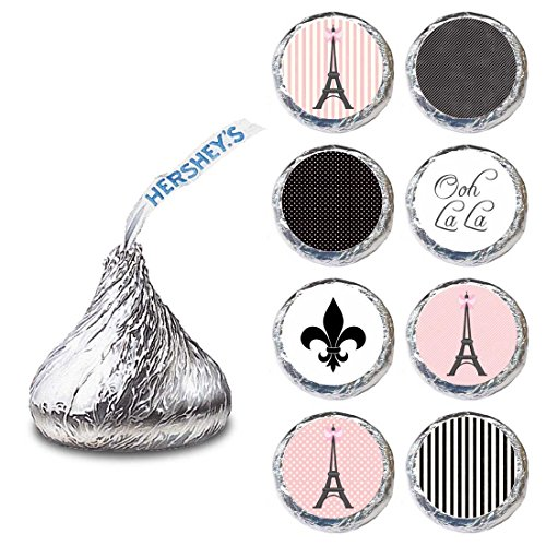 Paris Label for HERSHEY'S KISSES® chocolates - Birthday Bridal Wedding Candy Stickers - Set of 240