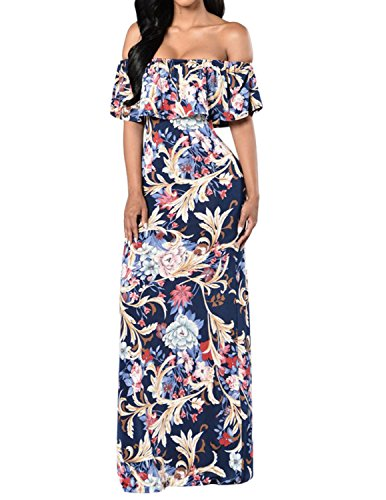 Slim Off Dress Navy Shoulder Cekaso Floral Women's Party Boho Blue Dress Maxi Printed Fit qpxAgIwP5