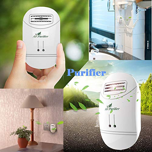 Mini Air Purifier Freshener sanitizer Plug-in Odor Cigarette Smoke Odor Smell Bacteria Dust Eliminator Anion Sterilization Air Cleaner Smoke Filter Home Travel (White)