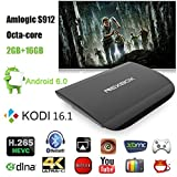 NEXBOX A1 Android 6.0 TV Box Amlogic S912 64 Bit up to 2.0GHz with Mali-820MP3 GPU Support 4K HEVC Decoding 5G WiFi Bluetooth 4.0 Streaming Media Player(2G RAM/16G ROM)