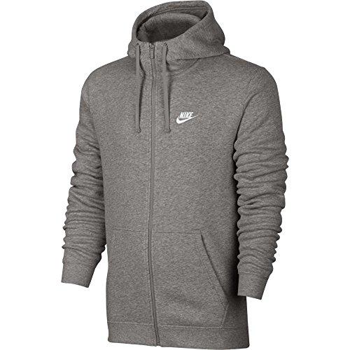 Nike Mens Sportswear Full Zip Club Hooded Sweatshirt Light Grey/White 804389-063 Size Large