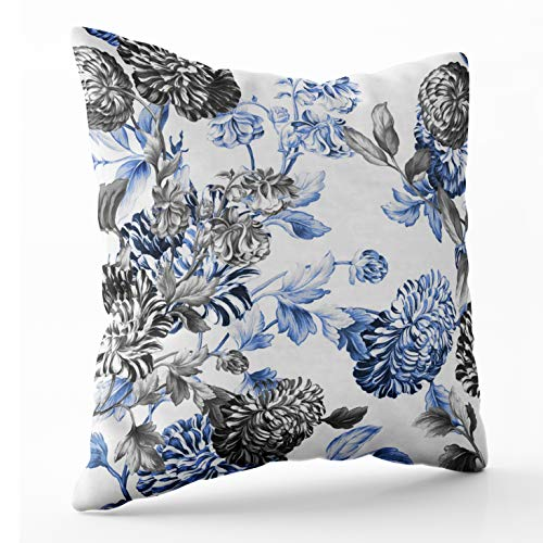 (Shorping Zippered Pillow Covers Pillowcases 16X16 Inch periwinkle blue black white botanical floral toile Decorative Throw Pillow Cover,Pillow Cases Cushion Cover for Home Sofa Bedding)