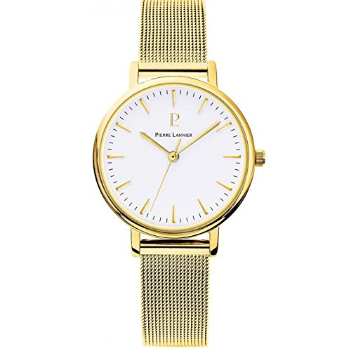 Women's Watch Pierre Lannier - 093L508 - WEEK-END SYMPHONY - Golden and White - Milanese Band by Pierre Lannier