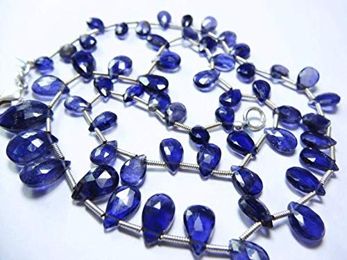 GemAbyss Beads Gemstone 1 Strand Natural 18 Inches Super Iolite Beads Faceted Pear Shape Beads Necklace 7 to 11 MM Code-MVG-28328