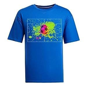 Custom Mens Cotton Short Sleeve Round Neck T-shirt,2014 Brazil FIFA World Cup socerpoleplus blue