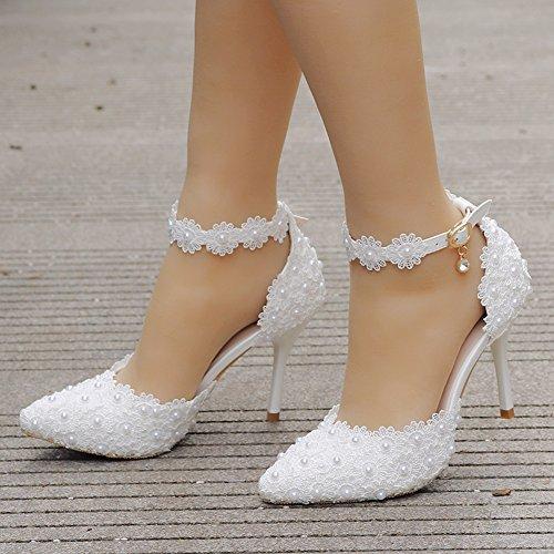 Chaussures de mariage à talon aiguille blanches femme mtOjHcoH