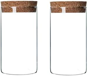 XINGZI Kitchen Storage Containers With Cork Lids Set Of 2 300ml/10oz Durable Refillable Clear Glass Food Canisters Storage Container Vial Jars For Tea Coffee Flower Dry Goods Pantry Organization