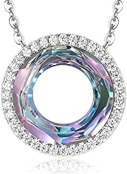 LOUISA SECRET Happy Ferris Wheel Birthday Gift Circle Crystal Necklaces for Women 925 Sterling Silver Pendant