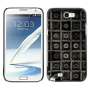 MOBMART Carcasa Funda Case Cover Armor Shell PARA Samsung Note 2 N7100 - Dark Floral Framed Steel