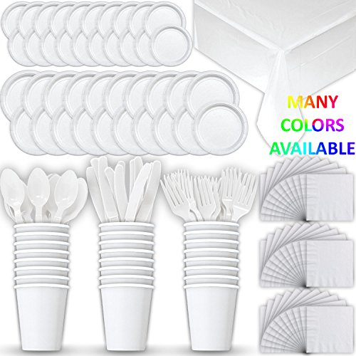 Disposable Paper Dinnerware for 24 - White - 2 Size plates, Cups, Napkins , Cutlery (Spoons, Forks, Knives), and tablecovers - Full Party Supply Pack - Perfect for Birthday Parties