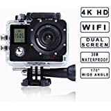 Zision 2.0 Inch+0.66 Inch Dual screen Sport Action Camera Outdoor DV Diving Beach vacation select 170°Wide-angle Continuous And time-lapse photography 30M Waterproof 4K+1080P