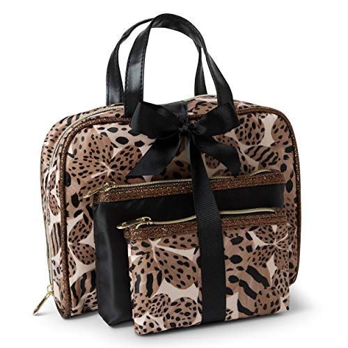 Adrienne Vittadini Cosmetic Bag Set: 3 Travel Makeup Toiletry Bags with Zippered Closure - Large Satchel & Medium & Small Square Cases - Cheetah]()