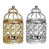 Jannyshop 2 PCS Metal Centerpiece Birdcage Candlestick for Home Decorative