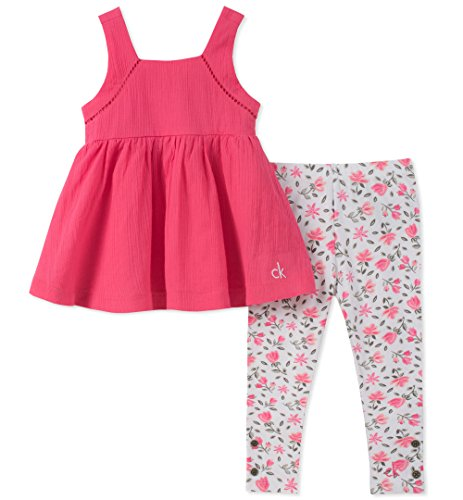 Calvin Klein Baby Girls Tunic Leggings Set, Hot Pink/Print, - Cotton Tunic Calvin