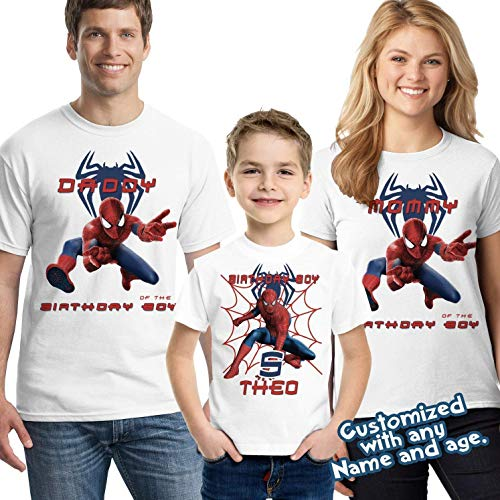 Spider-man Birthday Shirt Add Name & Age Spiderman Custom Birthday Party TShirt ()