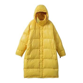 FAMLYJK Engrosado De La Mujer Chaqueta Puffer Abrigo con Capucha,Yellow: Amazon.es: Deportes y aire libre