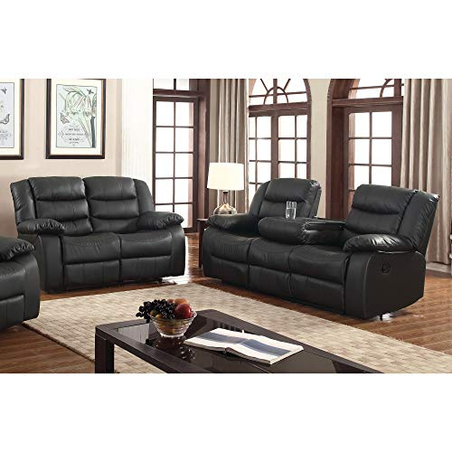 US Furnishing Express Gloria Faux Leather 2-Piece Reclining Living Room Set Black
