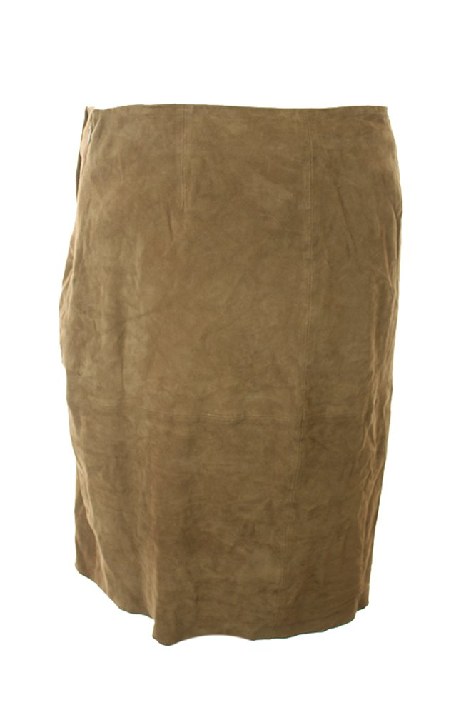 Ralph Lauren Brown Asymmetrical Suede Pencil Skirt Size 12